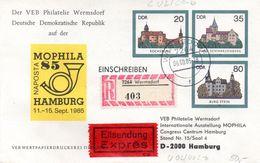 """DDR Privatganzs.-Umschlag  PU U02/002-b """"Burgen Und Schlösser M.ZD Zur Naposta MOPHILA'85"""" HAMBURG TSt 6.9.85 - [6] Democratic Republic"""
