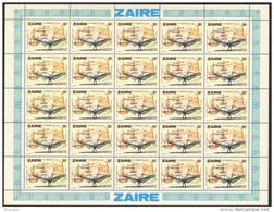Zaire 0941** 30s Feuille / Bogen / Sheet De 25 MNH - Aviation Léonard De Vinci - Zaïre