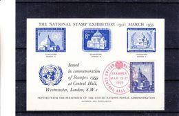 Nations Unies - New York - Bloc émis Pour L'expo Stampex à Londres - Vendu 50 $ à L'expo Belgica 72 ! - New-York - Siège De L'ONU