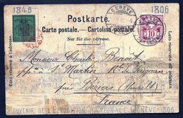 CPA PRÉCURSEUR SUISSE DE 1896- RARE TIMBRAGE AVEC NON DENTELÉ N° 3A TAMPON ROUGE + N° 60- 10 Ct ROSE-4 SCANS - GE Genève