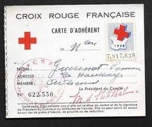 Vieux Papiers - Croix Rouge Red Cross Carte Adhérent Rozay En Brie - Vignette Erinnophilie 1958 - Commemorative Labels