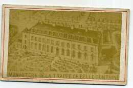PHOTO CDV VUE DE BREGOLLES EN MAUGE. MAINE ET LOIRE.MONASTERE DE LA TRAPPE DE BELLE FONTAINE - Antiche (ante 1900)