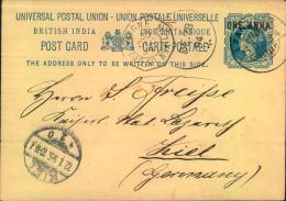 "1895, """"India Used Abroad"""", 1 Anna Stat. Card From ZANZIBAR Via Aden To Germany. French Shipmark. - India"