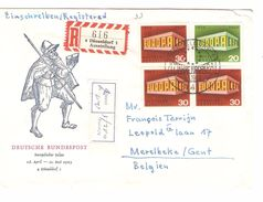 TP Europa Germany 1969 Registered Cover Dusseldorf 5/5/1969 Ausstellung To Belgium Merelbeke Arrival Canc.AP1129 - Europa-CEPT