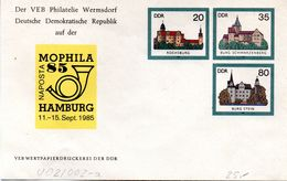 """DDR Privatganzs.-Umschlag  PU U02/002-a""""Burgen Und Schlösser M.ZD Zur NAPOSTA MOPHILA'85"""" Ungebraucht - [6] Oost-Duitsland"""