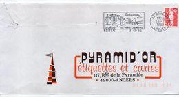 1992-flamme BOUSSAC-23- Chateau-Pierres Jaumâtres -tp Adhésif Marianne Bicentenaire Rouge 2.50F - Postmark Collection (Covers)