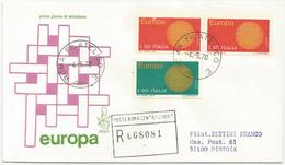 EUROPA CEPT - 1970 - FDC VENETIA 293/it - ANNULLO ROMA - VIAGGIATA PER RACCOMANDATA - 6. 1946-.. Repubblica