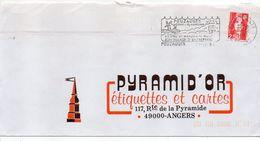 1991-flamme POUZAUGES-85-Moulins-tradition-dynamisme-blason  Tp Adhésif Marianne Bicentenaire Rouge 2.50F-LA ROCHELLE-17 - Postmark Collection (Covers)