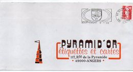 1992-flamme BOUFFEMONT-95---blason  Tp  Marianne Bicentenaire Rouge 2.50F - Postmark Collection (Covers)