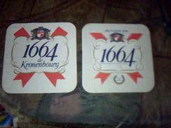 Sous Bock Biere 1664 De Kronembourg Lot De 2 Differents Biere 1664 Imprime 1 Face Et 1664 De Kronembourg Imprime 2 Faces - Sous-bocks