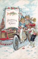 CPA Fantaisie - Souvenir Du 1er Avril Poisson - Automobile Enfants Anges Coq - 1er Avril - Poisson D'avril