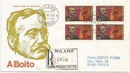 ARRIGO BOITO - 1968 - FDC VENETIA 271/it - ANNULLO MILANO - VIAGGIATA PER RACCOMANDATA - 6. 1946-.. Repubblica