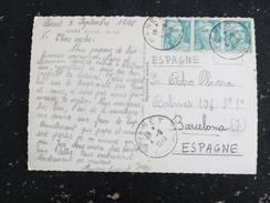 MENET - CANTAL - CACHET ROND MANUEL SUR MARIANNE GANDON POUR ESPAGNE - LE LAC - Manual Postmarks
