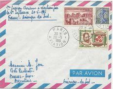 LETTRE 1961 1° LIAISON AERIENNE A REACTION PAR LUFTHANSA FRANCE-AMERIQUE DU SUD - Poste Aérienne