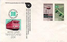 """DDR Privatganzs.-Umschlag  PU U03/002-a """"Sozialistisches Eisenbahnwesen M.ZD Zur Philatelia'85 Köln"""" Ungebraucht - [6] Oost-Duitsland"""