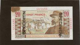 Guyanne Billet De Vingt Francs Specimen Neuf Avec Une Tache Ou  Brulure TB - Guyane Française