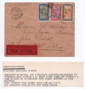 1929 - ENVELOPPE PAR AVION PTT De TANANARIVE (MADAGASCAR) Pour LORIENT - Madagascar (1889-1960)