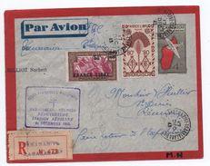 """1943 - GRIFFE AU DOS """"FFC TANA - ST DENIS"""" Sur ENTIER POSTAL Avec TP FRANCE LIBRE De TANANARIVE (MADAGASCAR) -> CENSURE - Madagascar (1889-1960)"""