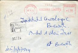 27231 Romania, Red Meter/freistempel/ema/bucuresti 1975 Ministry Of Health, Ministerul Sanatatii, Circuled Registered - Marcophilie - EMA (Empreintes Machines)