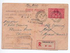 """1944 - CACHET """"1ère LIAISON MADAGASCAR - GRANDE COMORE"""" Sur ENTIER POSTAL 80c RECOMMANDE De TANANARIVE - Madagascar (1889-1960)"""