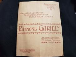 Catalogue 1911 Raymond GARIEL Quai De La Mégisserie PARIS Grillage Grille Serrurerie Horticole Porte Fer étagère Piège - Livres, BD, Revues