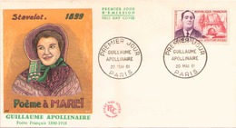FDC Du 20 Mai 1961 à Paris Guillaume Apollinaire Poème à Mareî - FDC