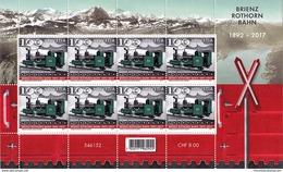 Switzerland 2017 (02/2017) 125th Anniversary Brienz Rothorn Rack Railway Mountains Berge ** Sheet (not Folded) - Switzerland