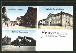 AK Herxheim, Obere Hauptstrasse, Schul- Und Gemeindehaus, Bahnhof-Restauration - Germania