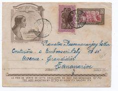 1938 - ENVELOPPE ENTIER POSTAL TSF De BEKILY (MADAGASCAR) - Madagascar (1889-1960)
