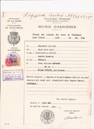 Acte De L'état Civil Asnières 1956 Timbre Fiscal Taxes Communales N° 16 - Fiscale Zegels