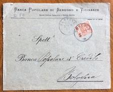 SEREGN0 6/4/1906 SU 15/20 BUSTA PUBBLICITARIA  DELLA BANCA POPOLARE DI SEREGNO E VICINANZE... - Storia Postale