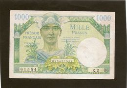 France Billet De 1000 Francs Du Trésor Francais Ref Fayet VF 33 - Treasury
