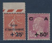N°250 + 251 - Caisse D'Amortissement - Neufs Sans Charniere - Cote 195€ - France