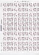 France, Marianne De Ciappa Et Kawena N°848, Feuille Complète De 100 Autoadhésifs , Cote 20€ ( 1710/12) - Feuilles Complètes