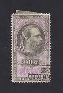 1 Austria Revenue 90 Kr. 1.1.1877 Weißes Papier - Mit WASSERZEICHEN - Steuermarken