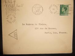 Grande Bretagne Lettre De Exeter 1937 Pour Paris , Cachet Post Early In The Day - Storia Postale