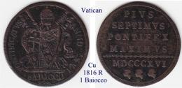 Vatican-1816, 1  Baiocco - Vaticano