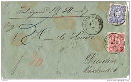25922. Frontal ZITTAU (Sachs) (Alemania Reich) 1877 A Dresden - Cartas