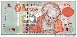 URUGUAY 5 PESOS URUGUAYOS 1998 PICK 80 UNC - Uruguay
