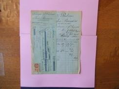 MOULINS JULES BUSSIERE FABRIQUE DE RUBANS PLACE CORTET & RUE GAMBETTA FACTURE ET TRAITE DU 17 FEVRIER 1928 - France