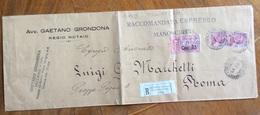 GENOVA NOTAIO GAETANO GRONDONA BUSTA RACCOMANDATA ESPRESSO PER ROMA IN DATA 17/2/26 - 1900-44 Victor Emmanuel III.