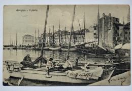 ROVIGNO ISTRIA Vecchia Cartolina Il Porto Barca Pescatori Animata - Croazia