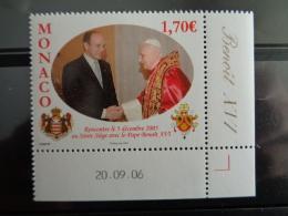 MONACO 2006  Y&T N° 2573 ** - VISITE DE S.A.S. ALBERT II A S.S. LE PAPE BENOIT XVI - Monaco