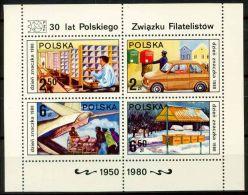 Polonia 1980 SG MS2709 Foglietto 100% ** Giornata Del Francobollo - Blocks & Sheetlets & Panes