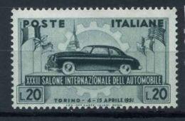 Italia Repubblica 1951 Sass. 655 Nuovo ** 100% Salone Dell'automobile - 6. 1946-.. Republic