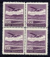 CZECHOSLOVAKIA 1939 Airmail 30 H. Block Of 4 MNH / **. - Airmail