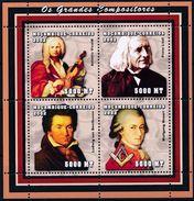 Moçambique 2002 - Compositeurs, Beethoven, Liszt, Mozart Et Vivaldi - BF Neufs // Mnh - Mozambique