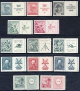 CZECHOSLOVAKIA 1937-38 Commemorative Issues With Labels At Right, MNH / **. - Unused Stamps