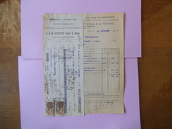 AIX EN PROVENCE A. & M. GOUBERT ONCLE ET NEVEU AMANDES-NOISETTES-PULPES D'ABRICOT FACTURE ET TRAITE DU 25 SEPTEMBRE 1928 - France