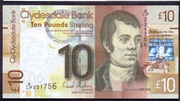 UK Scotland 10 Pounds 2014 UNC P-229J Clydesdale Bank - 10 Pounds